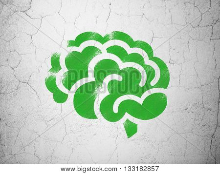 Healthcare concept: Green Brain on textured concrete wall background