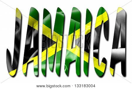 Jamaica word with a bevelled flag texture on an isolated white background with a clipping path with and without shadows