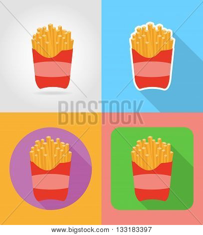 fried potatoes fast food flat icons with the shadow vector illustration isolated on background
