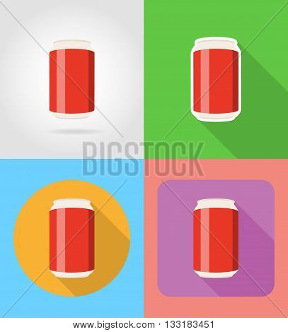 soda in the can fast food flat icons with the shadow vector illustration isolated on background
