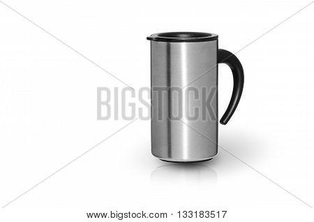city travel coffee steel mug closeup isolated on white