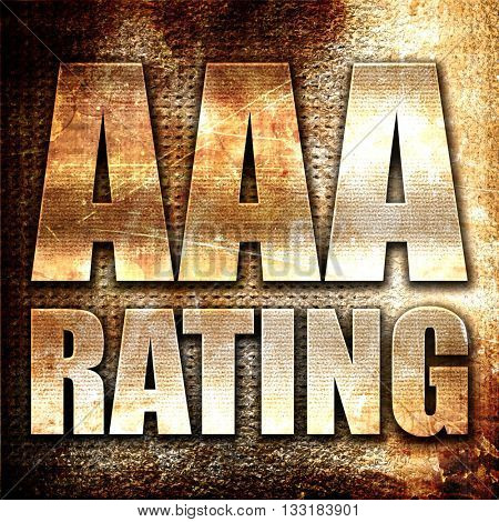 aaa rating, 3D rendering, metal text on rust background