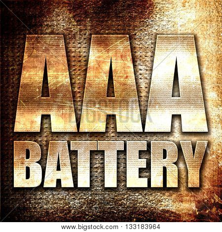 aaa battery, 3D rendering, metal text on rust background