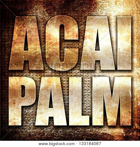acai palm, 3D rendering, metal text on rust background