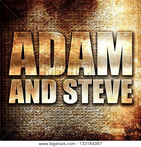 adam and steve, 3D rendering, metal text on rust background