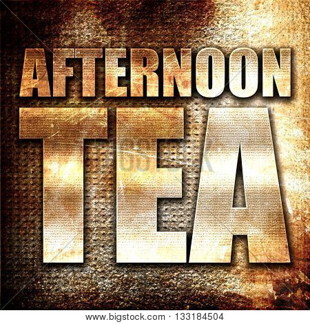 afternoon tea, 3D rendering, metal text on rust background