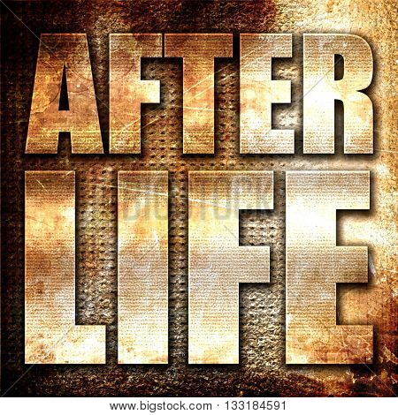 afterlife, 3D rendering, metal text on rust background