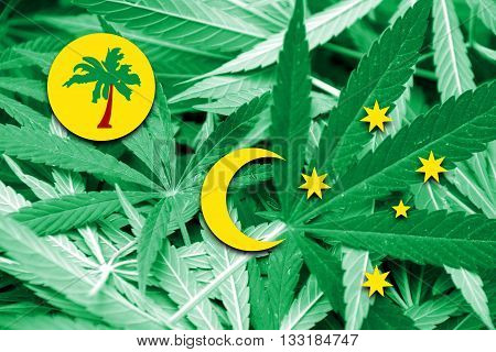 Flag Of Cocos Islands, On Cannabis Background