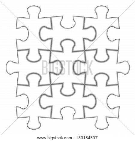 Puzzle 3x3. Vector illustration of white puzzle separate pieces.