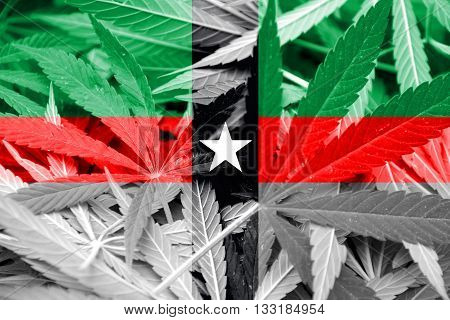 Flag Of Denison, Texas, On Cannabis Background