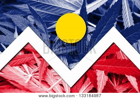 Flag Of Denver, Colorado, On Cannabis Background
