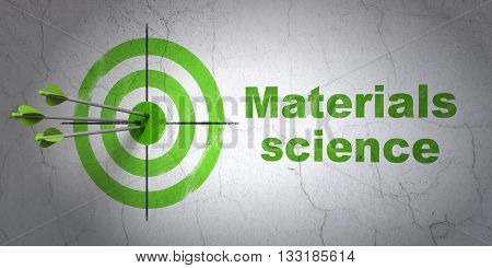Success Science concept: arrows hitting the center of target, Green Materials Science on wall background, 3D rendering