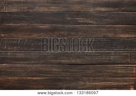 Brown wood texture and background. Brown painted wood texture background. Rustic, old wooden background. Aged wood planks texture pattern. Wooden surface. Horizontal timber planks