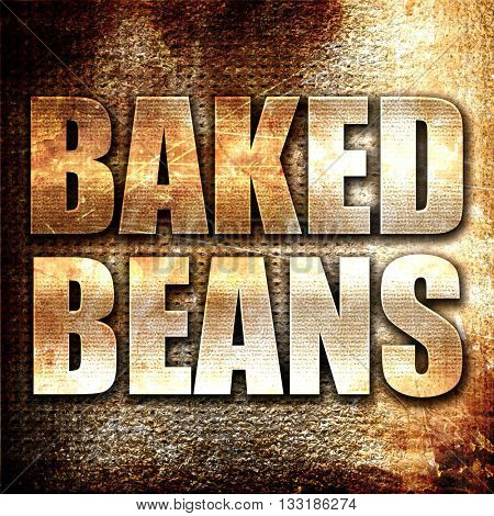 baked beans, 3D rendering, metal text on rust background