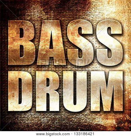 bass drum, 3D rendering, metal text on rust background