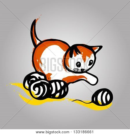 Kitten playing with ball of yarn. Drawing ginger kitten. abstract color image. Vector illustration