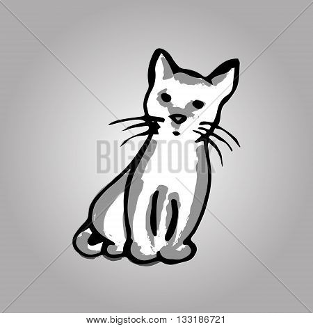 Cute kitten sitting. The picture of the gray kitten. abstract color image. Vector illustration