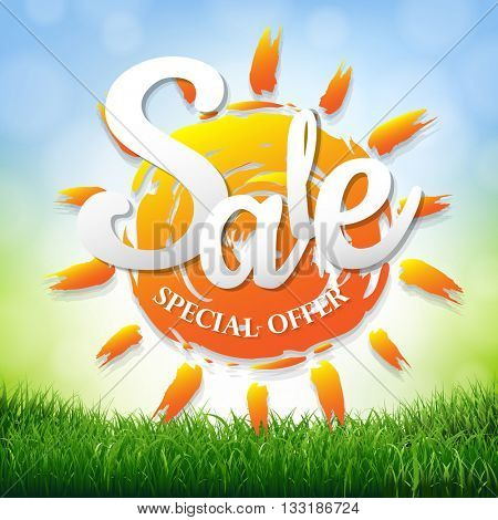 Sale Poster With Grass Border, With Gradient Mesh, Vector Illustration