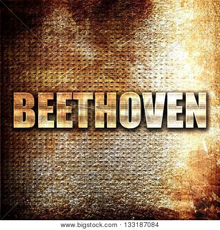 beethoven, 3D rendering, metal text on rust background