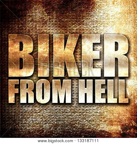 biker from hell, 3D rendering, metal text on rust background