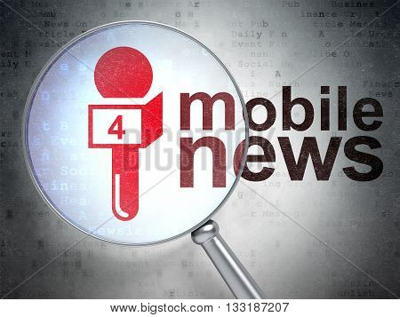 News concept: magnifying optical glass with Microphone icon and Mobile News word on digital background, 3D rendering