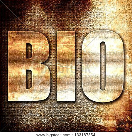 bio, 3D rendering, metal text on rust background