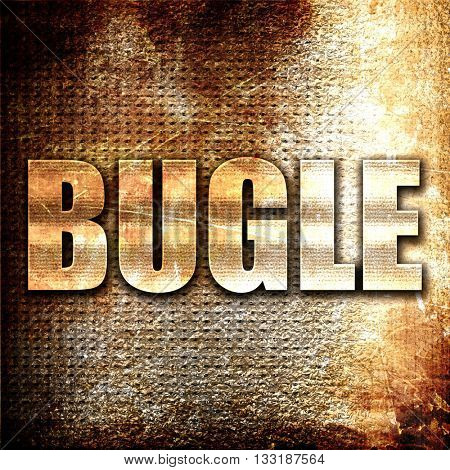 bugle, 3D rendering, metal text on rust background