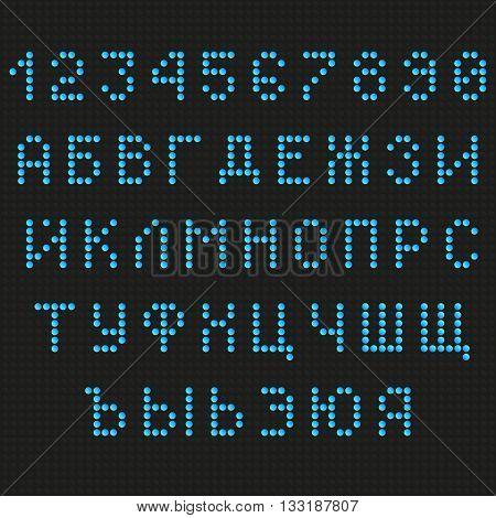 Cyrillic font. Digital scoreboard font. LED font. Russian font. Uppercase font. Information table font. Blue Letters Font