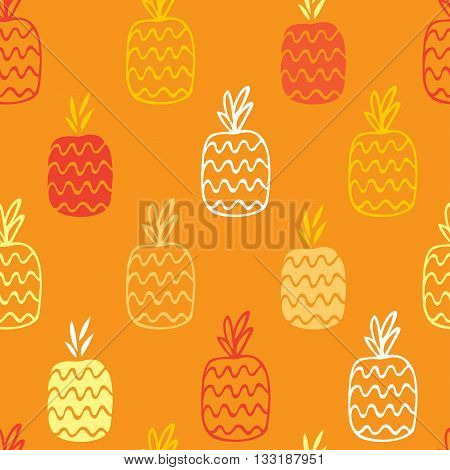 The pineapples are hand-drawn on a orange background create a continuous pattern. Can be used for textile printing, packaging, Wallpaper.