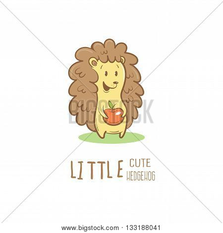 Card with cute cartoon hedgehog and apple. Little funny animal. Children's illustration. Vector image.
