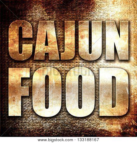 cajun food, 3D rendering, metal text on rust background