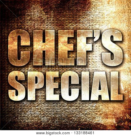 chef's special, 3D rendering, metal text on rust background