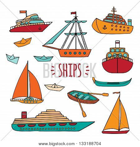 Vector set of Maritime transport in Doodle style. Ship, boat, vessel, ship, paper ship, cruise liner, yacht, gondola. Isolated objects on white background.