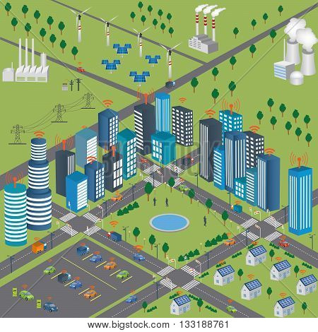 Smart Grid concept Industrial and smart grid devices in a connected network. Renewable Energy and Smart Grid Technology Smart city design with future technology for living. Intelligent Transport Systems. Internet of things/Smart city