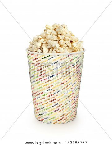 Popcorn in bucket isolated on a white background