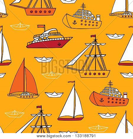 Colourful seamless marine pattern. Various cartoon nautical vessels on yellow background. Vector sea, river and ocean transport.