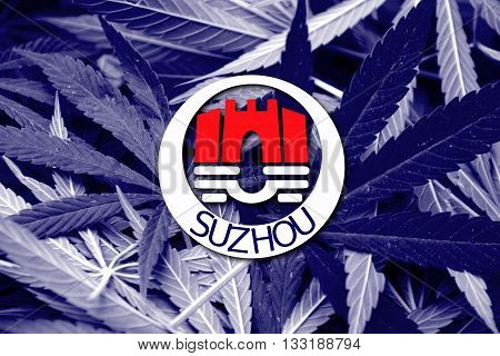 Flag Of Suzhou, China, On Cannabis Background