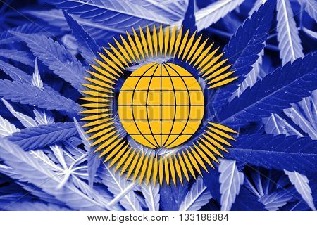 Flag Of The Commonwealth Of Nations, On Cannabis Background