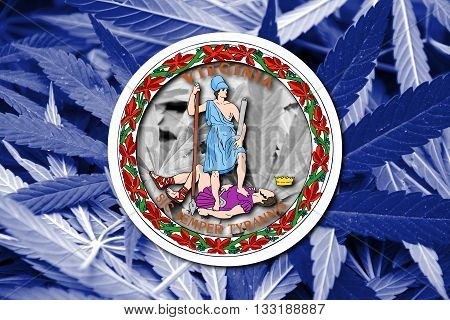 Flag Of The Commonwealth Of Virginia, On Cannabis Background