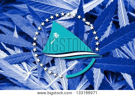 Flag Of The Pacific Community, On Cannabis Background