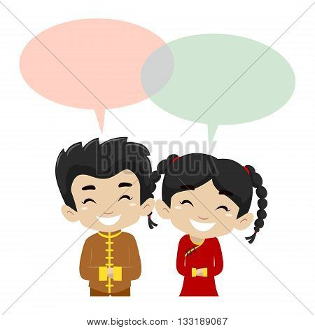 Vector Illustration of Kids wearing Chinese Costume with Blank Speech Bubble