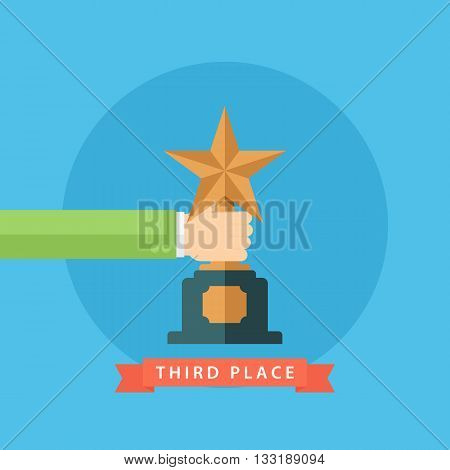 Male hand holding bronze star award. Third place. Bronze star award. Flat vector illustration.