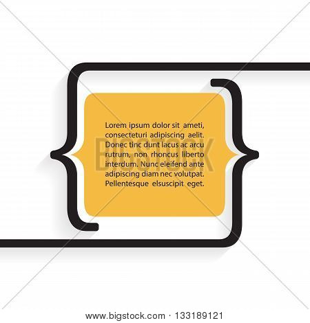 Quote blank template with bracket and shadow. Quote bubble. Empty template. Quote blank with text bubble. Vector illustration.