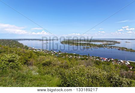 Mountain to the Volga River and the sky with beautiful clouds