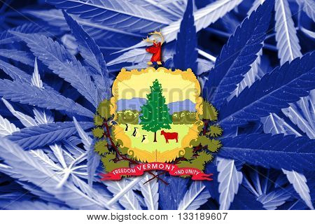 Flag Of Vermont State, On Cannabis Background