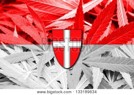 Flag Of Vienna State, On Cannabis Background