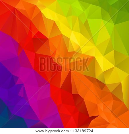 vector abstract irregular polygon background with a triangular pattern in diagonal rainbow spectrum full colors