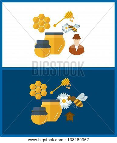 Flat design vector concept illustration with icons of products beekeeping and best product organic natural honey bee. Bee collects pollen from flower. Honey.