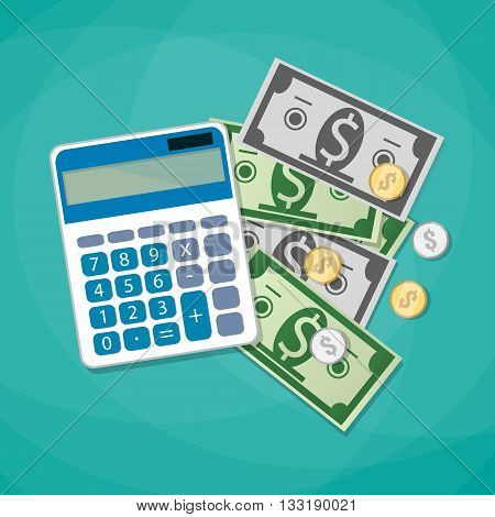 Calculator and dollars cash with coins. calculating costs, investment concpet. vector illustration in flat design on green background