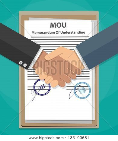Two cartoon Businessman handshake on mou memorandum of understanding legal document contract papers after agreement. vector illustration in flat style on green background